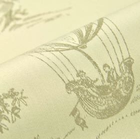 Branly - Cream (4) - A light grey design of drawings of trees and hot air balloons on 100% cotton fabric in an extremely pale shade of grey