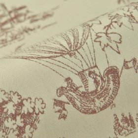 Branly - Cream Red (5) - Fabric made from 100% cotton in light grey, printed with drawings of trees and hot air balloons in dark grey