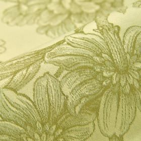 Bourdelle - Cream Green - Floral patterned fabric made from 100% cotton with realistic green-grey shaded patterns on a pale cream-beige back