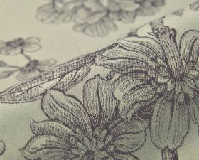 Bourdelle - Purple Cream - Fabric made from pale grey 100% cotton behind a realistic, shaded floral drawing design in a dark shade of blue-g