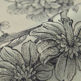 Bourdelle - Black Cream (5) - Drawings of flowers shaded realistically in a very dark shade of blue-grey onpale grey fabric made from 100%
