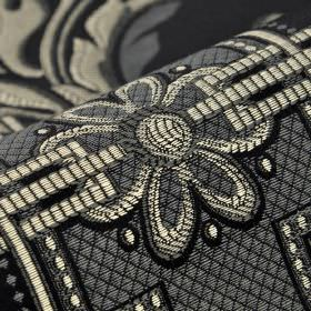 Vernon - Black (4) - Cotton, rayon and viscose blended with a simple pattern of flowers, lines and dots in white and very dark shades of gre
