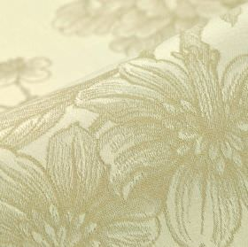 Bourdelle - Beige - Fabric made from off-white and very pale grey-beige 100% cotton, patterned with a realistic, shaded floral design
