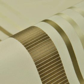 Lourmel - Cream Brown (1) - Light brown and ivory coloured stripes printed with a slight sheen on a white 100% silk fabric background