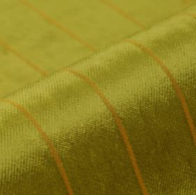 Inconel - Gold (3) - Fabric made from dralon and polyester with a very simple design of thin, evenly spaced lines in gold and kiwi green