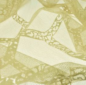 Orsay - Beige (1) - Very subtly patterned lines running in different directions across net style 100% polyester fabric made in beige