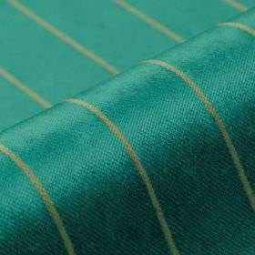 Inconel - Teal - Sky blue coloured fabric with a slight sheen, made from a blend of dralon and polyester, behind light grey thin lines