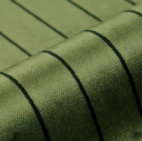 Inconel - Green - Thin black lines spaced at even intervals over dusky green coloured dralon and polyester blend fabric