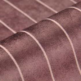 Inconel - Plum - Dark purple-grey and pinkish white coloured dralon and polyester blend fabric patterned with evenly spaced thin lines