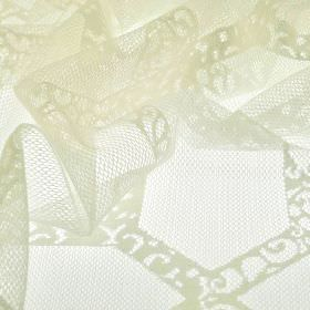 Orsay - Cream (2) - White 100% polyester fabric with a net effect & a design of lace effect designs running in lines in different directions