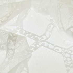 Orsay - White (3) - Net style fabric made from 100% polyester featuring lines with lace effect patterns all created in a bright white colour