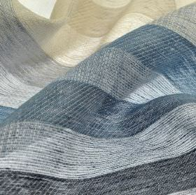 Branco - Blue Grey Beige (4) - Fabric made entirely from thin 100% linen with an evenly sized stripe design in light grey and various shades