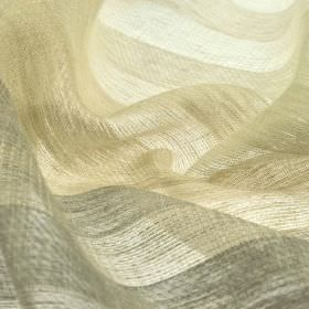 Branco - Beige Brown (5) - Pale shades of grey and beige making up a roughly coloured regular stripe design on fabric made from 100% linen