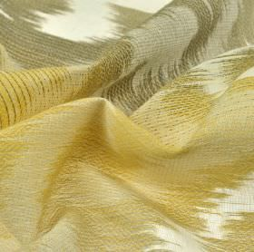 Rinjani - Cream Beige Gold - Cotton, linen and polyester blended together into a patchily coloured fabric with white, gold and grey shades