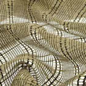 Manuk - Brown (1) - Loosely woven fabric made from linen and polyester in pale and charcoal shades of grey