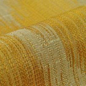 Nila - Orange - Fabric woven from pale grey and honey coloured patches of cotton, linen, polyester and viscose