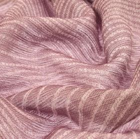 Karang - Pink (3) - Pale purple and off-white coloured, simply striped fabric made with a 70% linen and 30% polyester blend