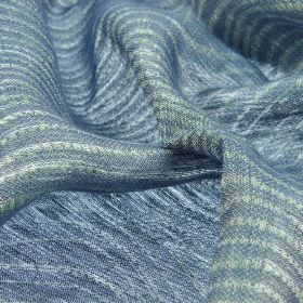 Karang - Blue (4) - Striped linen and polyester blend fabric featuring a very simple design of alternating cobalt blue and white coloured lines