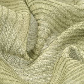 Karang - Cream (6) - Fabric blended from linen and polyester with a simple, alternating line design in two different pale shades of grey
