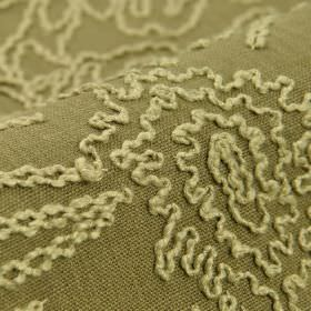 Eldborg - Beige (3) - Fabric made from grey-beige and cream coloured linen and viscose, with a raised pattern of random wiggling lines