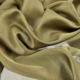 Pisa - Golden Yellow - Pewter coloured 100% Trevira CS fabric finished with a translucent, subtly patterned effect
