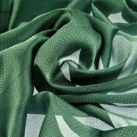 Pisa - Green (12) - Dark jade green and silvery white coloured 100% Trevira CS fabric finished with a very subtle pattern