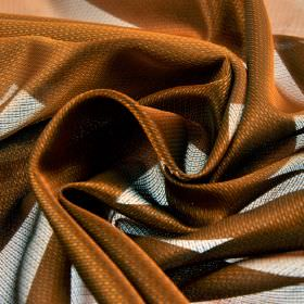 Pisa - Orange - Coppery brown and pale grey-white coloured fabric made entirely from Trevira CS with a very small subtle repeated design