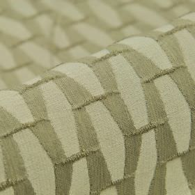Grid CS - Taupe (2) - Two different light shades of grey-beige making up a geometric print patterned 100% Trevira CS fabric