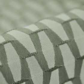 Grid CS - Grey - Elongated very pale grey hexagons arranged neatly and repeatedly on an iron grey 100% Trevira CS fabric background