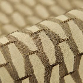 Grid CS - Brown - Fabric made from dark brown and light cream-beige coloured 100% Trevira CS, featuring a repeated geometric shape pattern