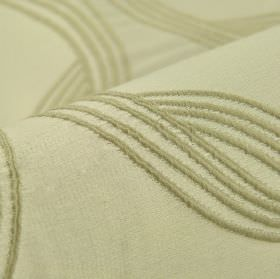 Chain CS - Beige (2) - Fabric made from 100% Trevira CS in an extremely pale shade of grey behind embroidered lines in a darker shade of gre