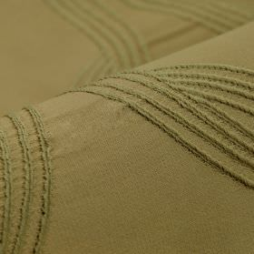 Chain CS - Brown (3) - Khaki coloured 100% Trevira CS featuring a very simple design of embroidered gently curving lines
