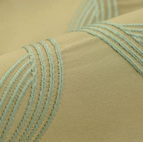 Chain CS - Green (4) - Ice blue lines embroidered in a simple curving design on plain light grey fabric made from 100% Trevira CS