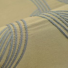Chain CS - Blue (5) - Denim blue and light grey coloured 100% Trevira CS fabric, featuring an embroidered design of simple curving lines