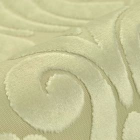 Aries - White - Very pale silvery green coloured fabric made from polyester and viscose, with a large, slightly textured swirl pattern