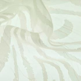 Hydrus - Cream (1) - Abstract beige coloured lines patterning translucent off-white coloured polyester and viscose blend fabric