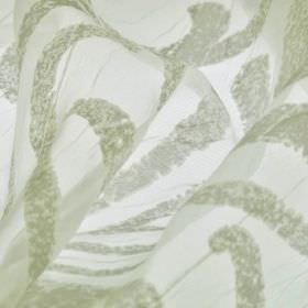 Hydrus - Beige (6) - Fabric made from polyester and viscose with a translucent finish and an abstract line pattern in white and green-grey