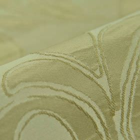 Indus - Beige (2) - Grass and dusky mint green coloured 100% polyester fabric featuring a subtle pattern of very simple leaves