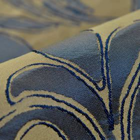 Indus - Blue (6) - Very dark blue coloured leaves creating a simple pattern over a grey-green 100% polyester fabric background