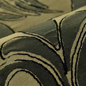 Indus - Brown (7) - Light grey-green fabric made from 100% polyester as a background to a simple leaf design in a very dark shade of green