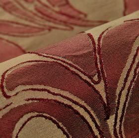 Indus - Red (8) - Light brown and dusky red coloured 100% polyester fabric covered with a very simply printed leaf design