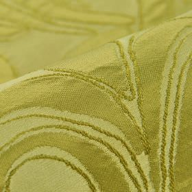 Indus - Yellow (9) - Several very similar shades of light green making up a simple leaf pattern on 100% polyester fabric