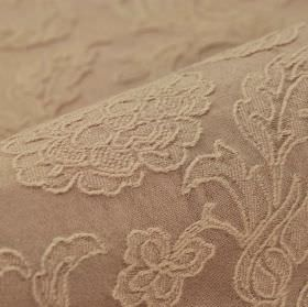 Musca - Pink - Light coffee coloured cotton and polyester blend fabric embroidered with a raised design of delicate florals and leaves