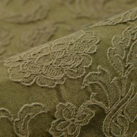 Musca - Brown (6) - Cotton and polyester blend fabric made in dark khaki green, with a raised and embroidered delicate floral & leaf pattern