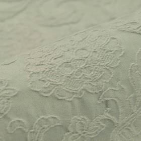 Musca - Light Grey (2) - Embroidered cotton and polyester blend fabric with a delicate, raised floral and leaf pattern in a very pale shade of