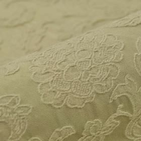Musca - Cream (5) - Cotton and polyester blend fabric featuring a raised, embroidered delicate floral and leaf design in light green-grey