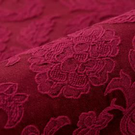 Musca - Red (9) - Deep burgundy coloured embroidered fabric made from cotton & polyester with a delicate raised design of flowers & leaves
