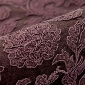 Musca - Purple - Raised pink-brown coloured flowers and leaves embroidered on very dark brown coloured cotton and polyester blend fabric