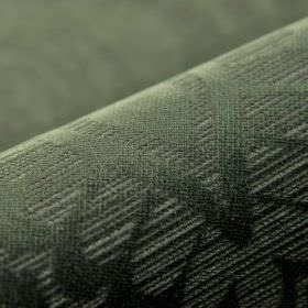 Lynx - Brown - Dark forest green coloured 100% polyester fabric with a simple leaf design which is made up of lighter coloured stripes