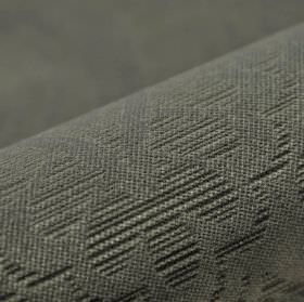Lynx - Grey - 100% polyester fabric made in several different dark shades of grey, with a simple leaf design made up of thin stripes